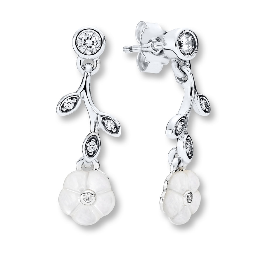 Pandora Drop Earrings: PANDORA Dangle Earrings Luminous Florals Sterling
