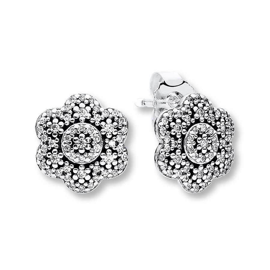 Pandora Earrings Silver: PANDORA Earrings Crystalized Floral Sterling Silver