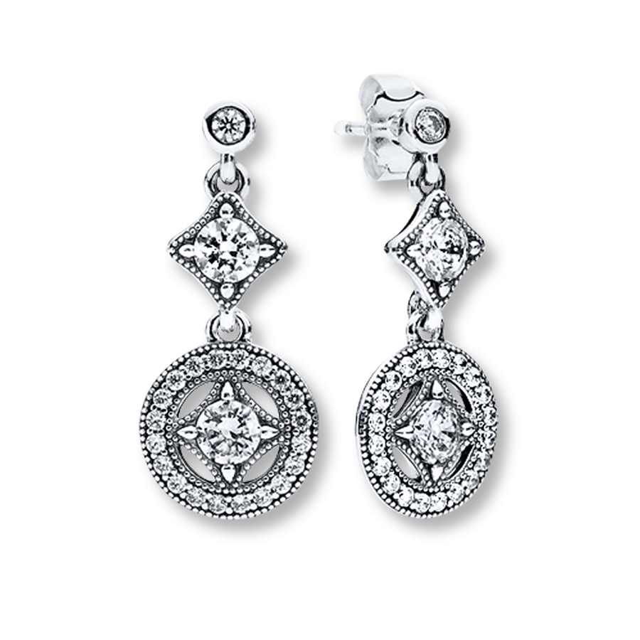 Pandora Drop Earrings: PANDORA Drop Earrings Vintage Allure Sterling Silver