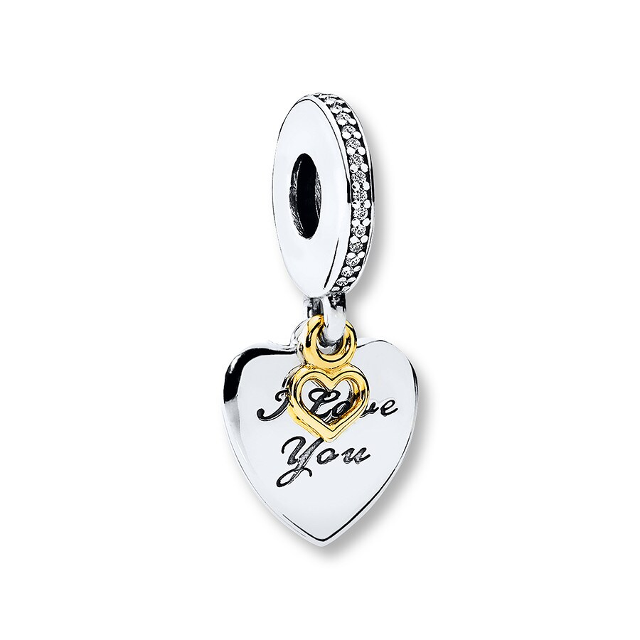 dfd74367d9f1d PANDORA Dangle Charm Love You Forever Sterling Silver/14K Gold