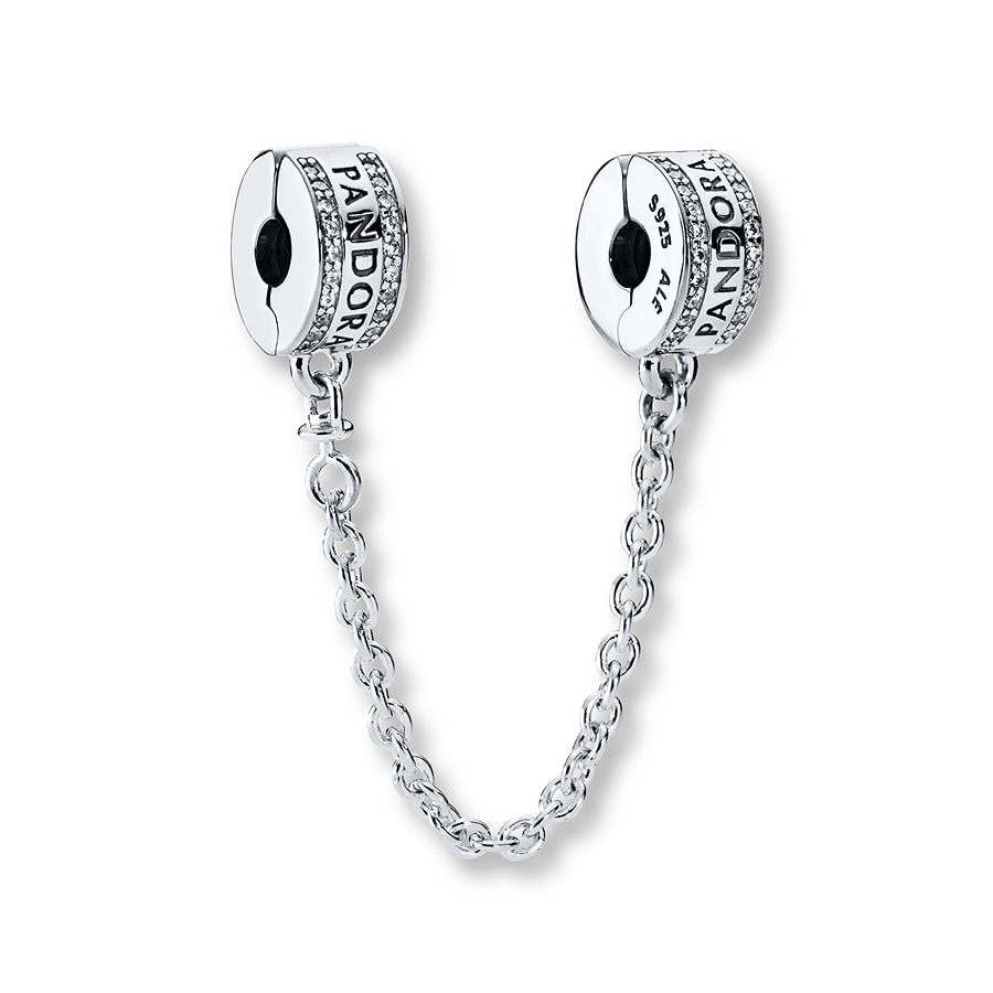 Jared PANDORA Safety Chain Logo Sterling Silver