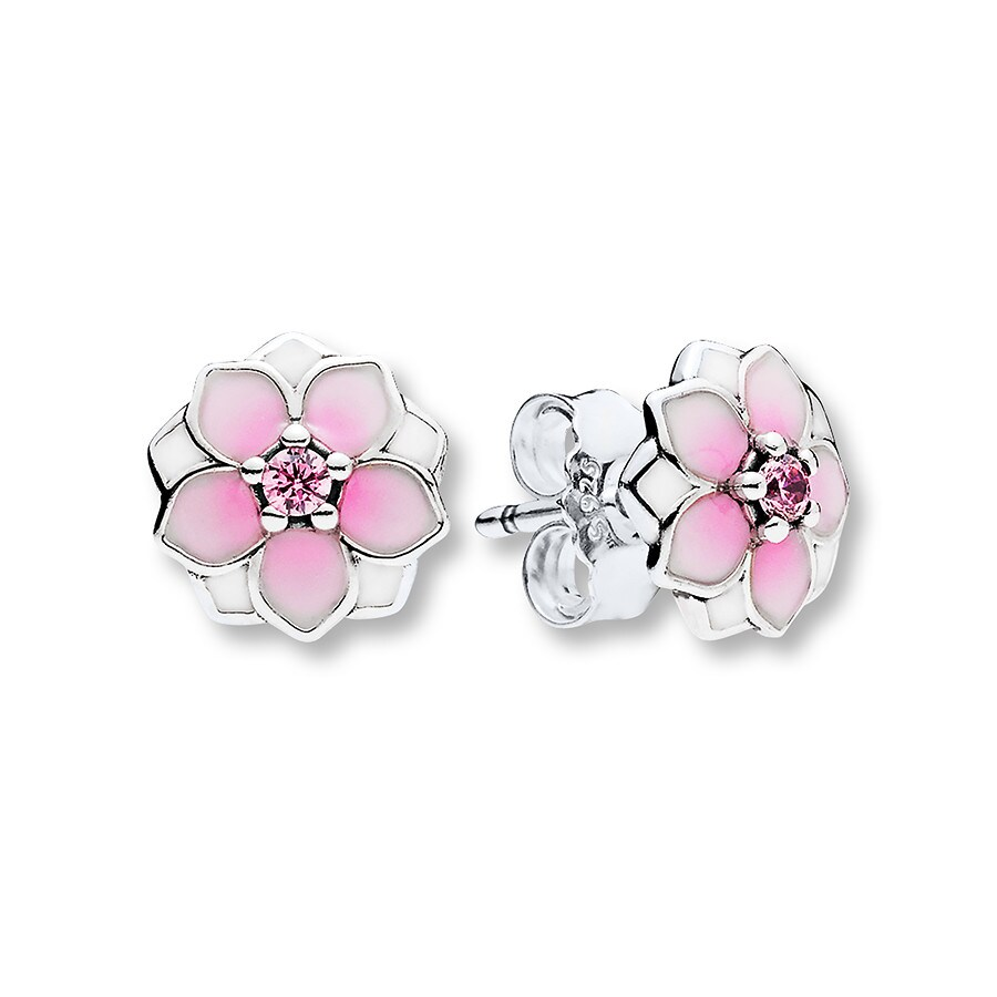 Pandora Earrings Silver: PANDORA Earrings Magnolia Bloom Sterling Silver