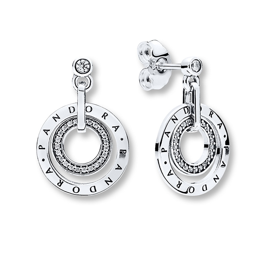Pandora Drop Earrings: PANDORA Dangle Earrings Circles Sterling Silver