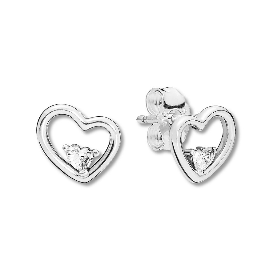 c30f01bb9 PANDORA Earrings Asymmetric Hearts of Love Sterling Silver ...