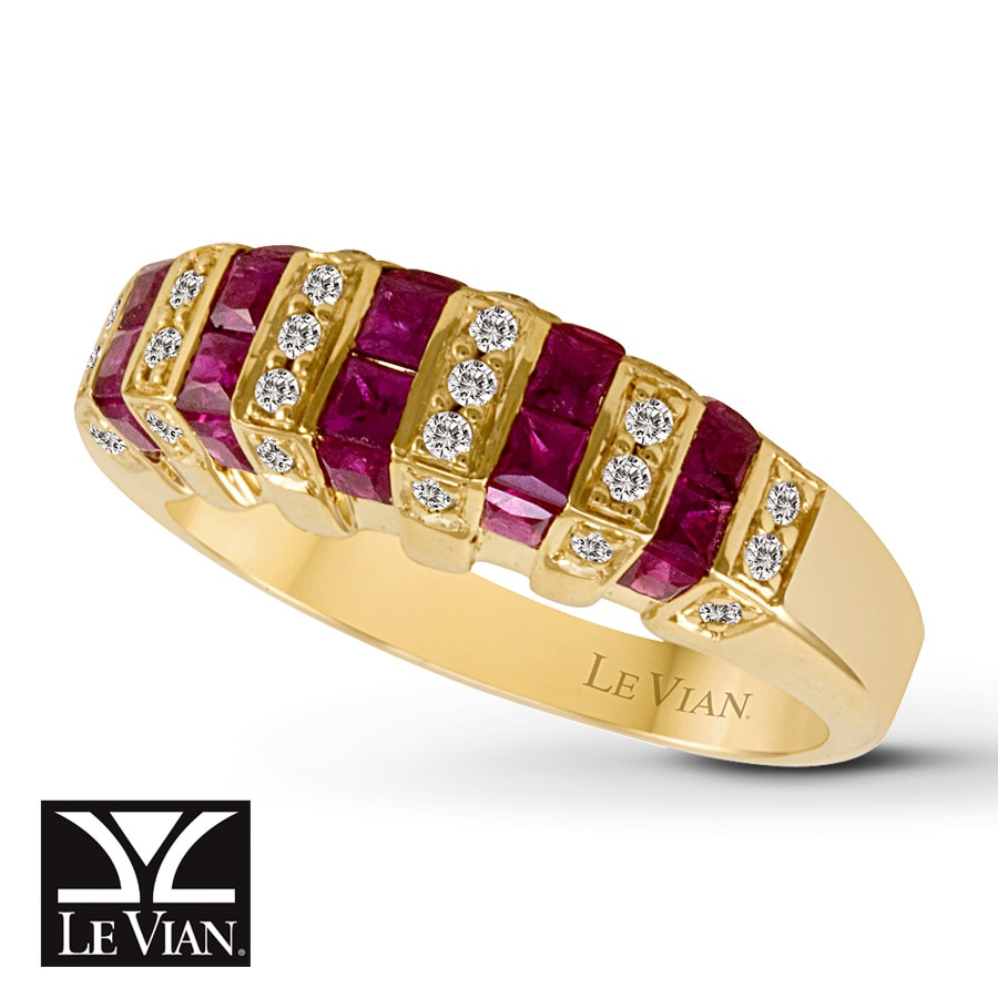 Jared Le Vian Natural Ruby Ring 16 ct tw Diamonds 14K Honey Gold