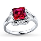 Lab-Created Ruby Ring 1/10 ct tw Diamonds Sterling Silver