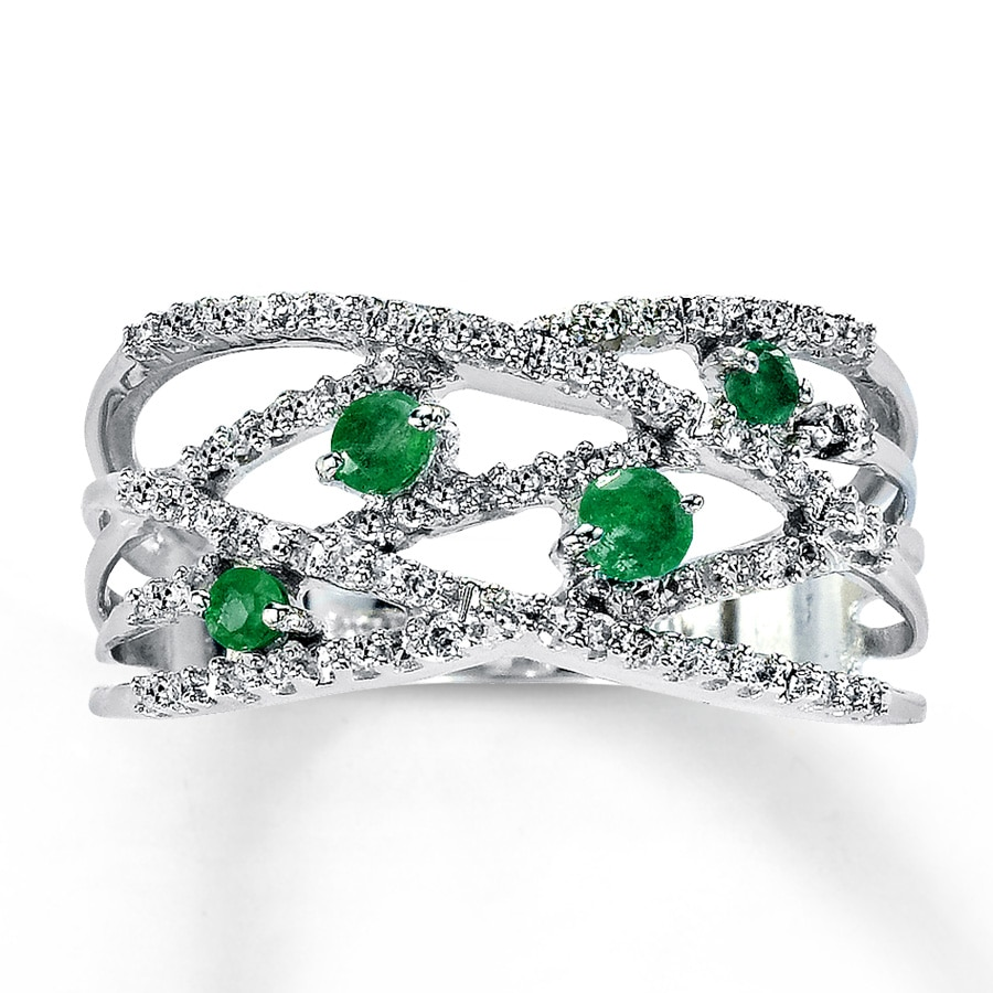 jared emerald ring 1 5 ct tw diamonds 10k white gold