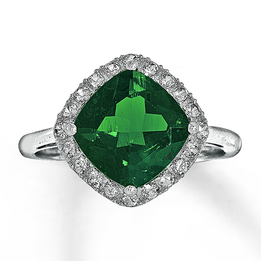 Lab Created Emerald Ring Lab Created Sapphires 10k White