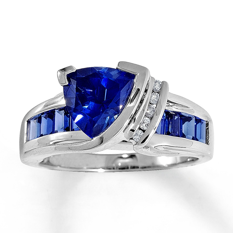 jared lab created sapphire ring triangle cut 10k white gold