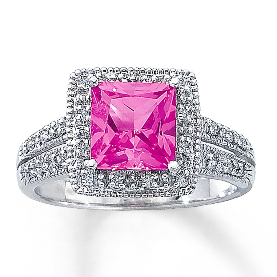 Jared - Lab-Created Pink Sapphire Ring Square-Cut 10K White Gold