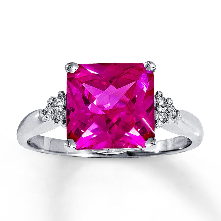 Jared - Lab-Created Pink Sapphire Ring with Diamonds 14K White Gold
