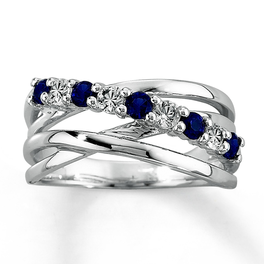 jared lab created sapphire ring cut 10k white gold