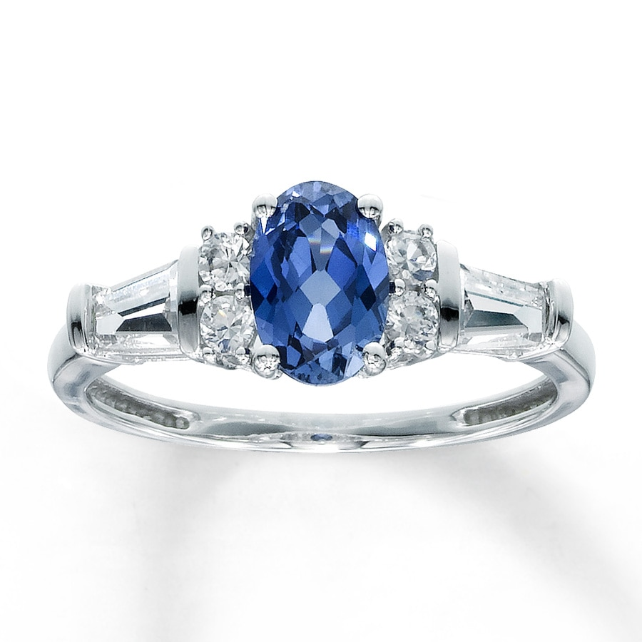 jared lab created sapphire ring oval 10k white gold