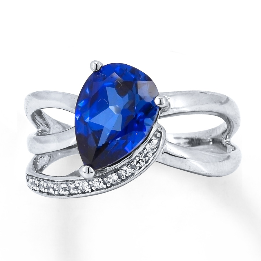 jared lab created sapphire ring blue white sterling silver