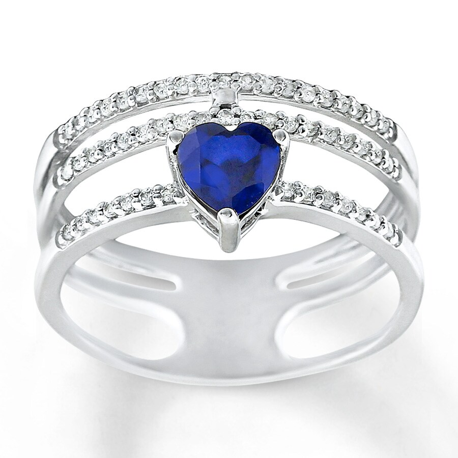 jared lab created sapphire ring blue white 10k white gold