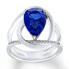Lab-Created Sapphire Ring Blue & White 10K White Gold