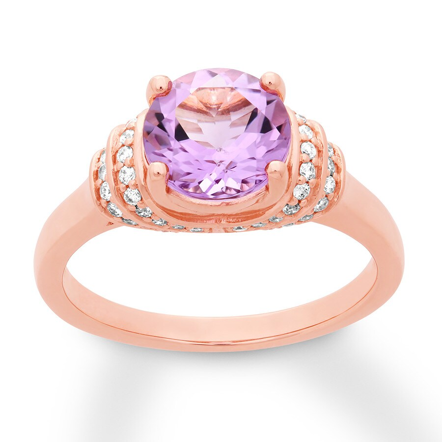 amethyst engagement ring 1 5 ct tw diamonds 14k rose gold. Black Bedroom Furniture Sets. Home Design Ideas