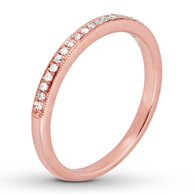 Diamond Wedding Band 1/10 ct tw Round-cut 14K Rose Gold