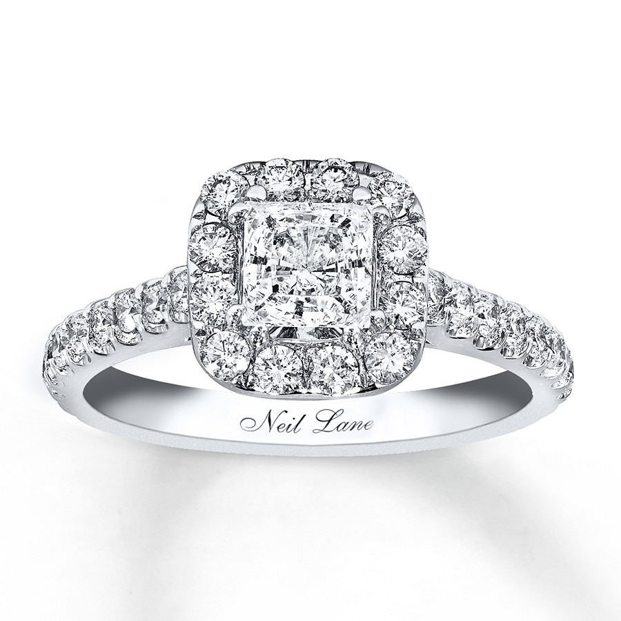 Jared Neil Lane Engagement Ring 1 1 2 ct tw Diamonds 14K White Gold