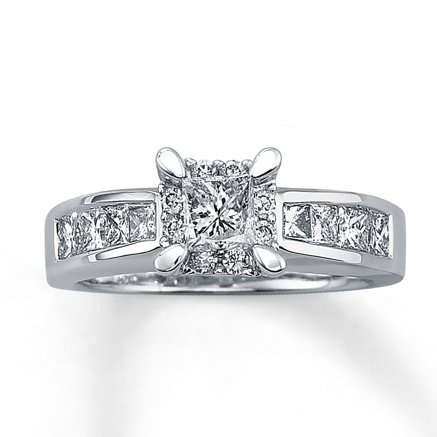 Jared Diamond Engagement Ring 1 1 4 ct tw Princess cut 14K White Gold