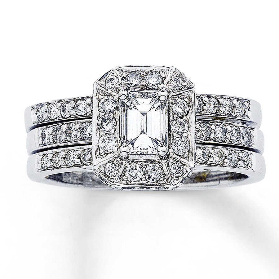 Jared Diamond Bridal Set 1 1 8 ct tw Emerald cut 14K White Gold