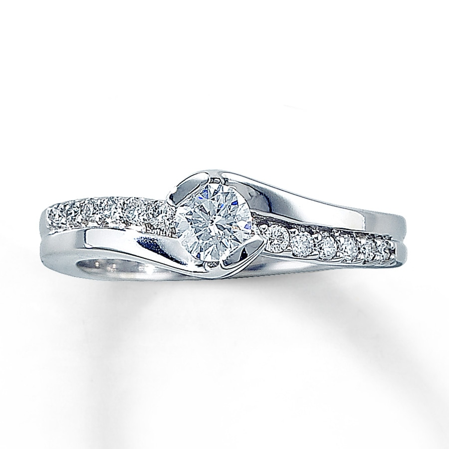 Jared Diamond Engagement Ring 1 2 ct tw Round cut 14K White Gold