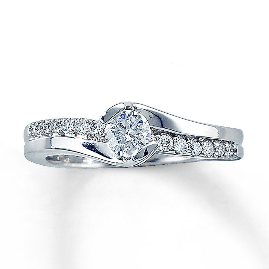 Jared Diamond Engagement Ring 12 ct tw Roundcut 14K White Gold