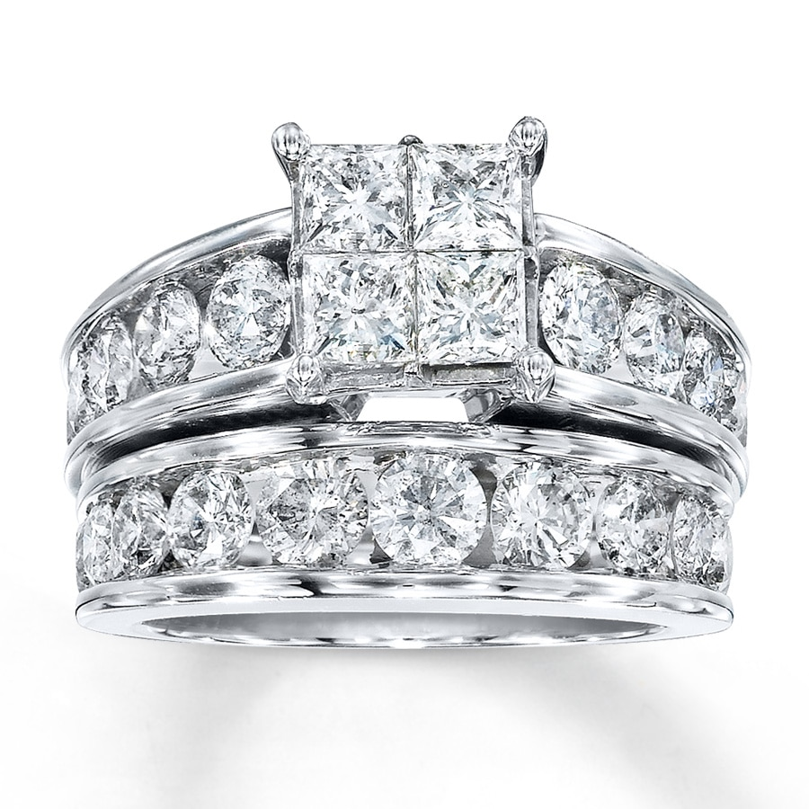 Diamond Bridal Set 4 Ct Tw Princess-cut 14K White Gold