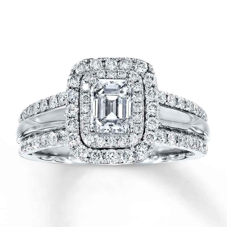 Jared Diamond Engagement Ring 1 1 2 ct tw Emerald cut 14K White Gold