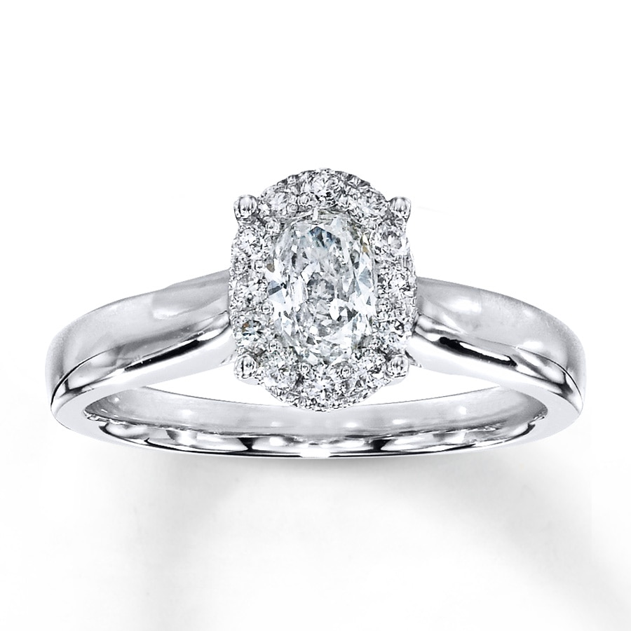 Jared Diamond Engagement Ring 1 2 ct tw Oval 14K White Gold