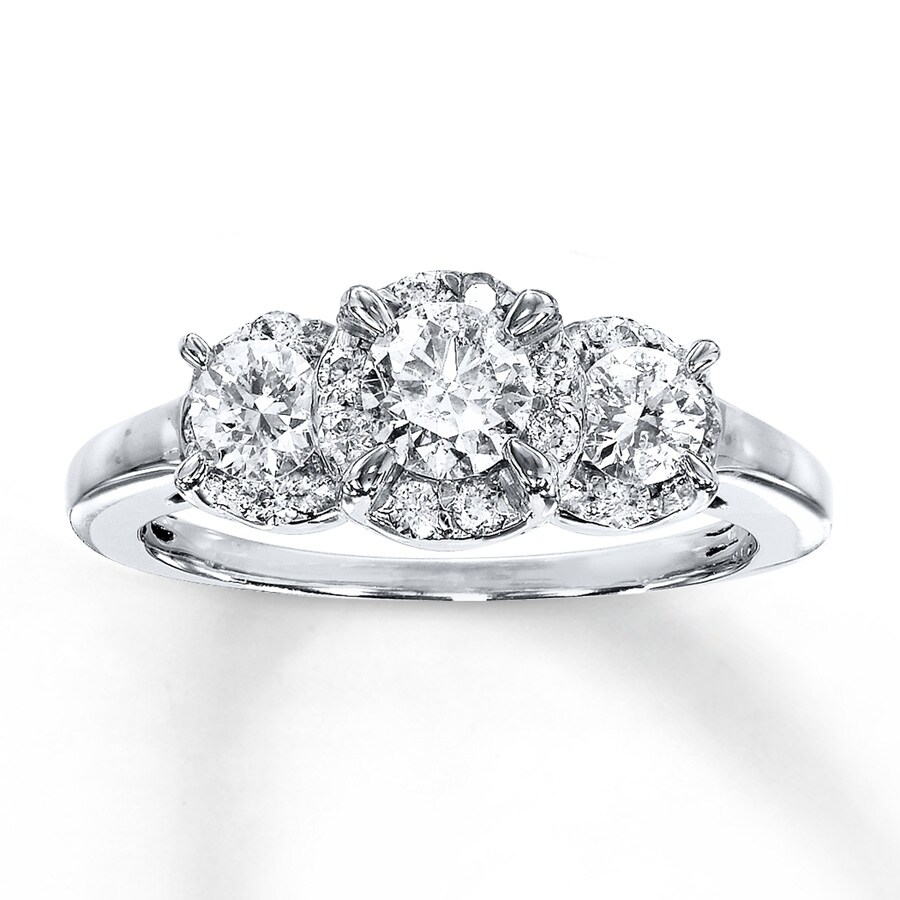 set diamond diamonds engagement trilogy stone trellis three ring product pav with pave