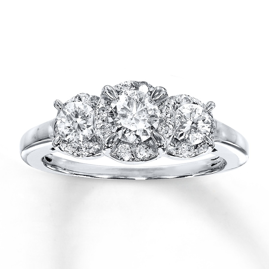 5d048f6c7 Diamond 3-Stone Ring 1 carat tw Round-cut 14K White Gold - 990854604 ...