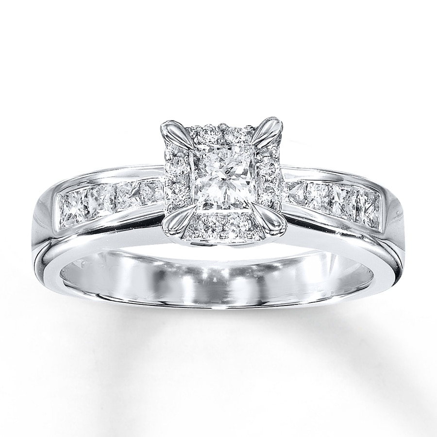 Diamond Engagement Ring 34 ct tw Princess-cut 14K White Gold