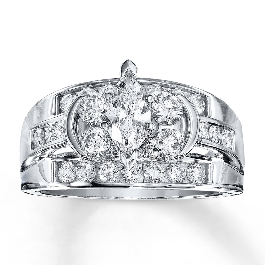 Jared Diamond Engagement Ring 112 ct tw Marquise 14K White Gold