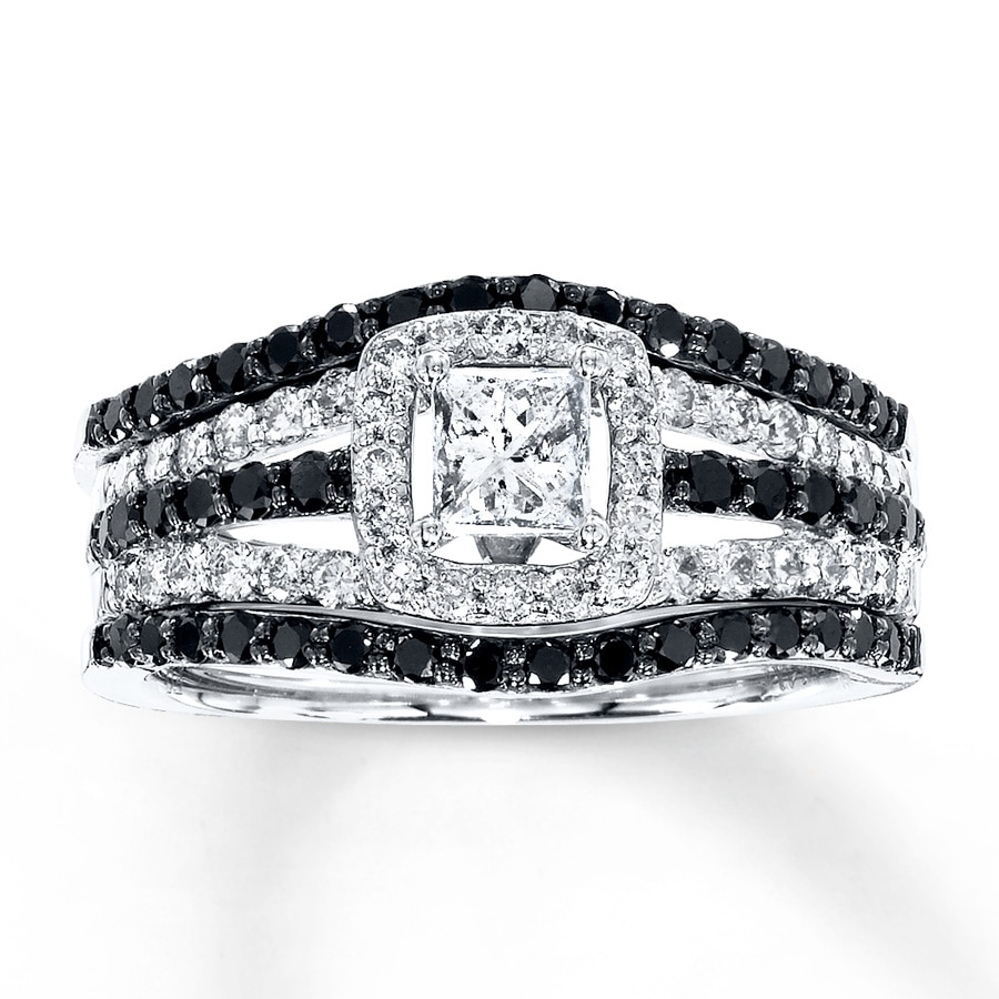 Jared Diamond Bridal Set 114 ct tw Black White 14K White Gold