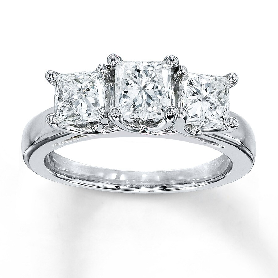 Jared Diamond Ring 2 Carat tw Princesscut 14K White Gold