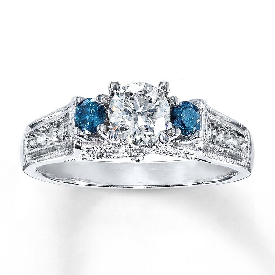 about wedding bridal w over wg and amp ct in heart diamond image rings loading blue white details set gold is ring shape itm