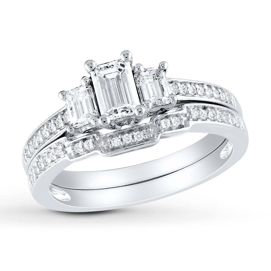 jared - diamond bridal set 1 ct tw emerald-cut 14k white gold