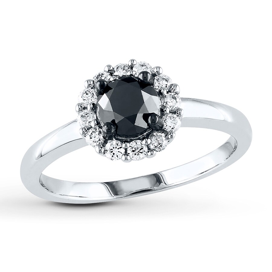 Jared Black Diamond Ring 1 ct tw Round cut 10K White Gold