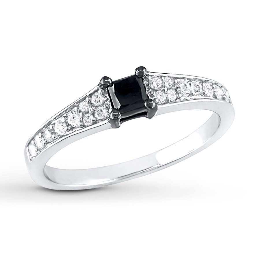 Jared Diamond Engagement Ring 1 2 ct tw Princess cut 10K White Gold