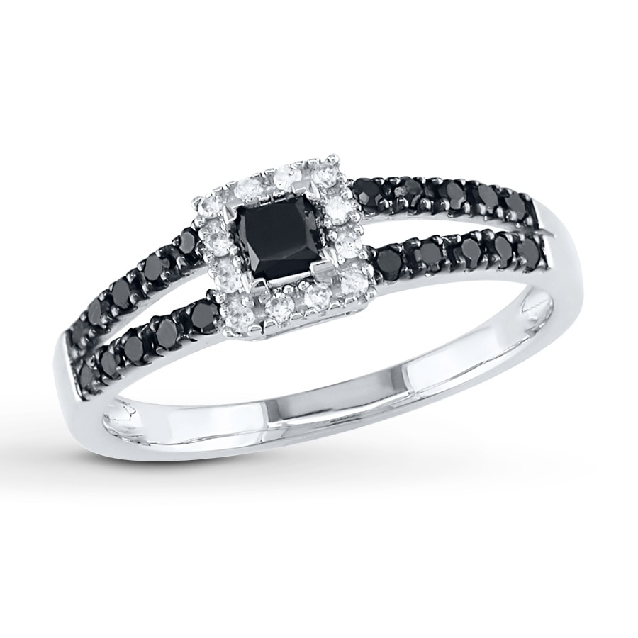 Jared Black Diamond Ring 12 ct tw Princesscut 10K White Gold