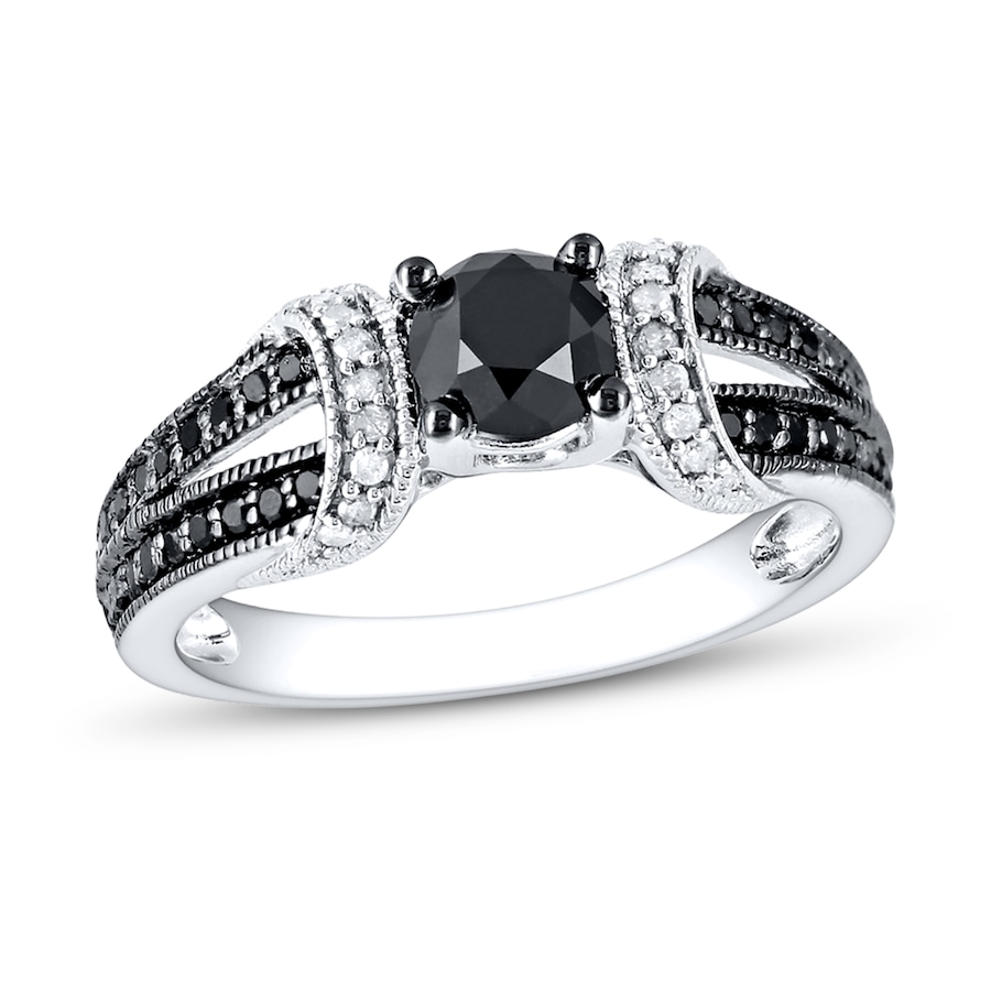 Black White Diamond Ring 1 Ct Tw Round Cut 10k White Gold