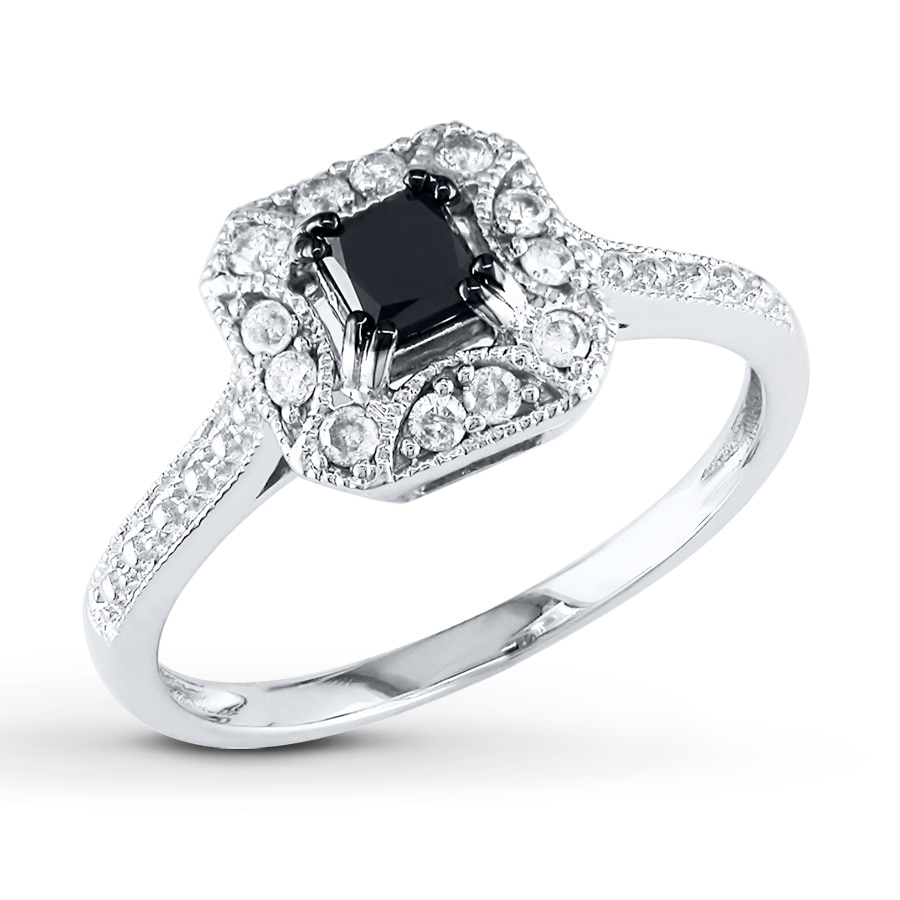 black  white diamond ring 5  8 ct tw princess-cut 10k white gold - 99097830499