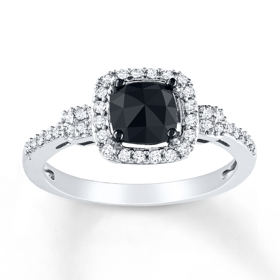 jared black diamond ring 1 ct tw cushion cut 14k white gold. Black Bedroom Furniture Sets. Home Design Ideas