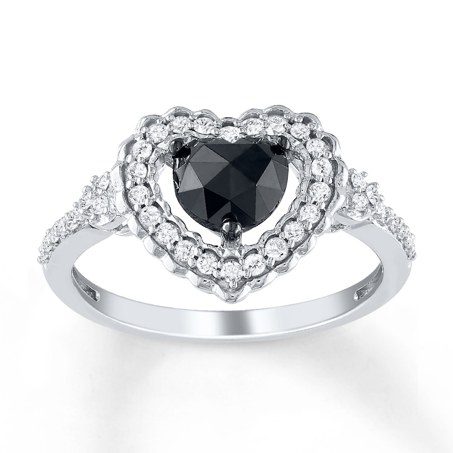 jared black ring 1 ct tw shaped 10k white gold