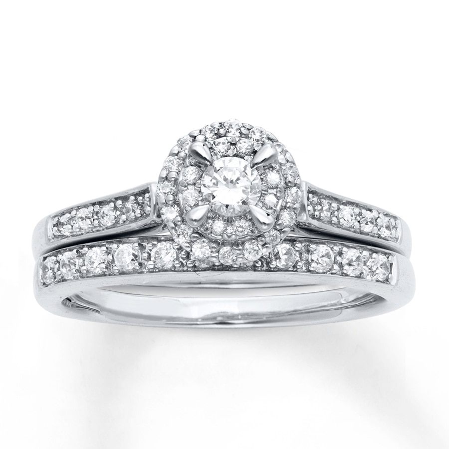 0a1fec0487d Diamond Bridal Set 1/2 ct tw Round-Cut 14K White Gold
