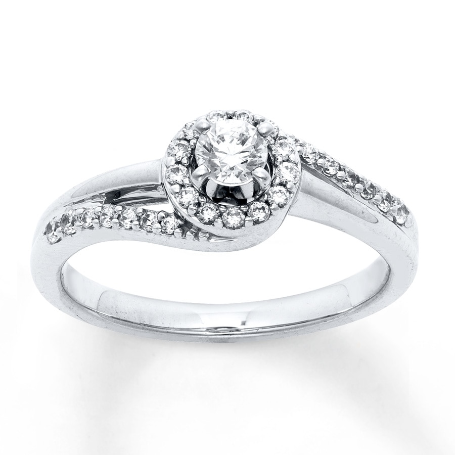 Jared Diamond Engagement Ring 1 3 ct tw Round cut 10K White Gold