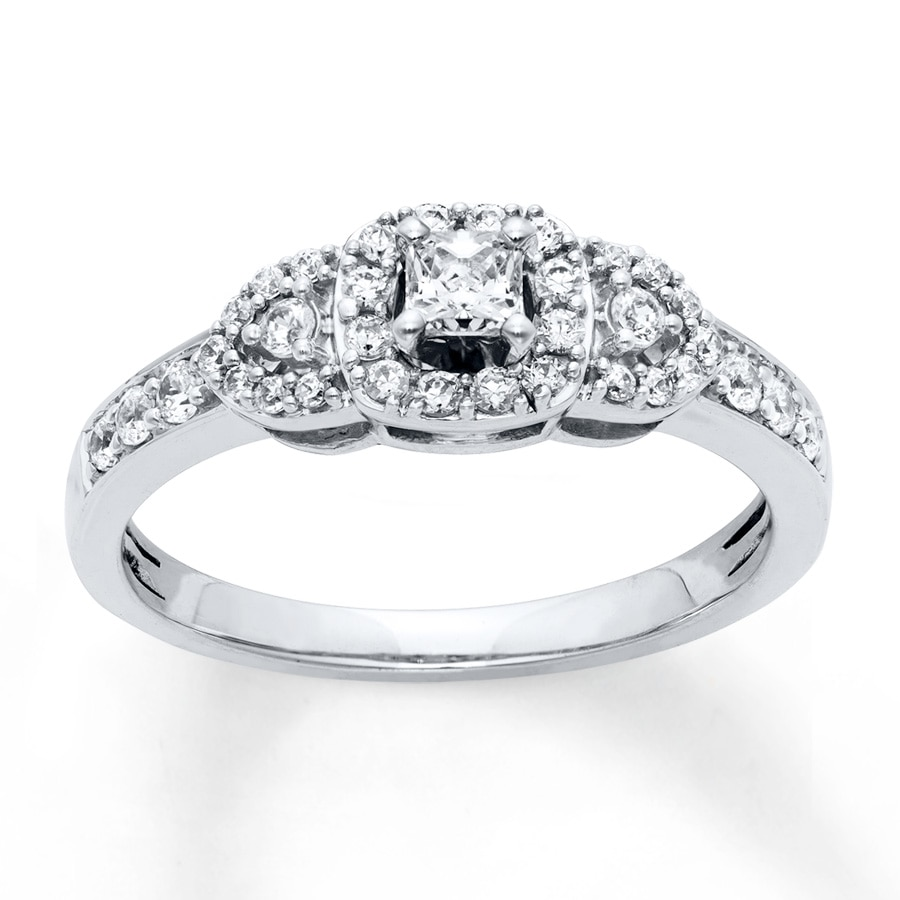 Jared Diamond Engagement Ring 1 2 Carat tw 10K White Gold