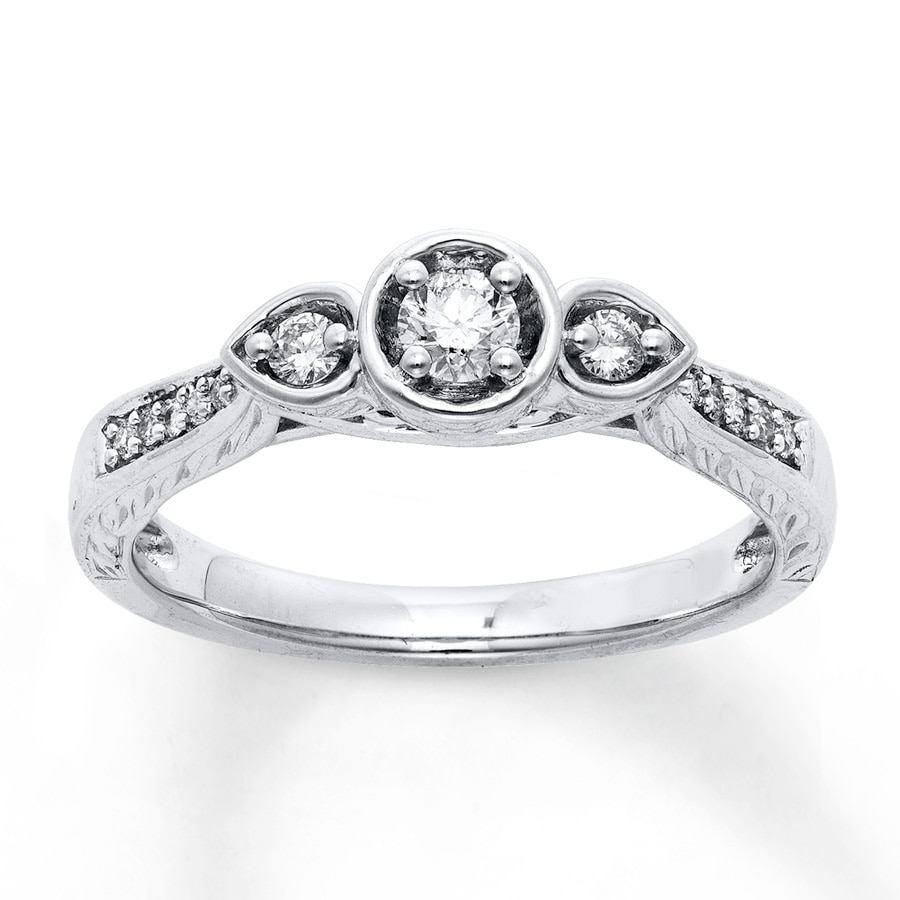 Jared Diamond Engagement Ring 1 4 ct tw Round cut 10K White Gold