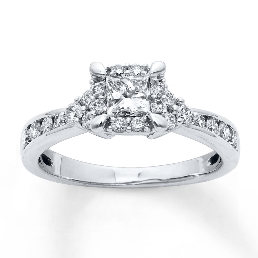 Jared diamond engagement ring 1 carat tw round cut 14k for Jareds jewelry wedding rings